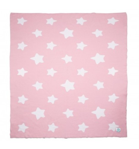 """Organic Cotton Knitted Baby Blanket """"Pink Stars"""""""