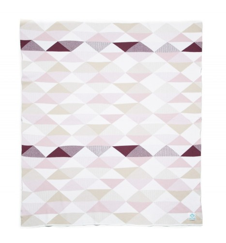 """Organic Cotton Knitted Baby Blanket """"Pink Triangles"""""""